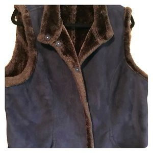 Suede and faux fur lined vest